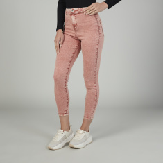 Sustainable Skinny Fit Plain Mid Waist Jeans with Pocket Detail