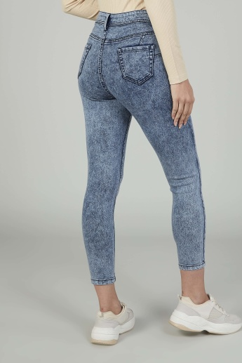 Skinny Fit Textured High Waist Jeans with Pocket Detail and Belt Loops