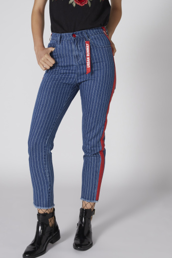 Lee Cooper Striped Cropped Jeans with Button Closure and Pocket Detail