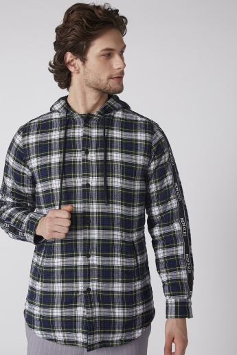 Chequered Jacket with Long Sleeves and Hood