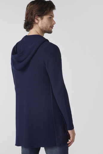 Longline Open Front Cardigan with Long Sleeves and Hood