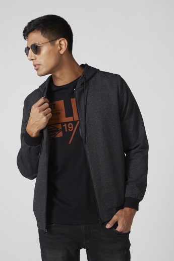 Textured Bomber Jacket with Elbow Patch and Hood