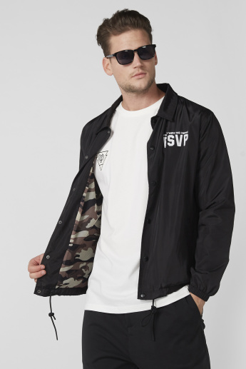 Printed Bomber Jacket with Long Sleeves and Press Button Closure