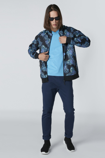 Printed Jacket with Long Sleeves and Zip Closure