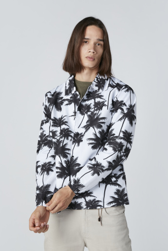 Printed Jacket with Long Sleeves and Complete Placket