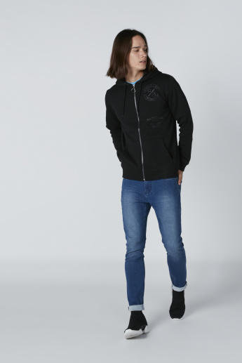 Long Sleeves Sweatshirt with Pocket Detail and Zip Closure