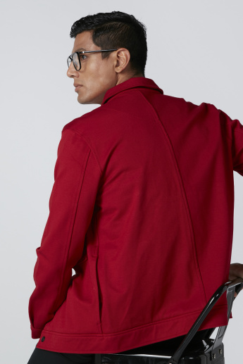 Pocket Detail Jacket with Long Sleeves and Press Button Closure