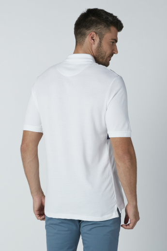 Embroidered Oversized T-shirt with Short Sleeves and Polo Neck