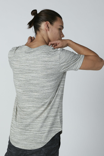 Textured T-shirt in Relaxed Fit with Curved Hem and Short Sleeves
