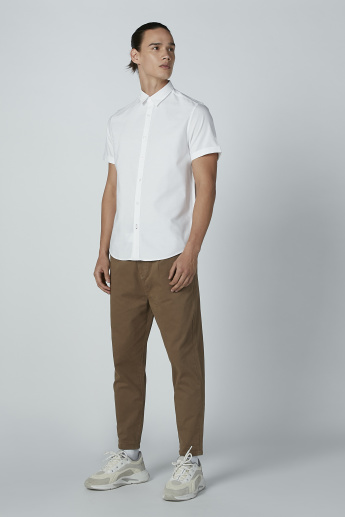 Sustainability Mid Waist Plain Chinos with Pocket Detail and Belt Loop
