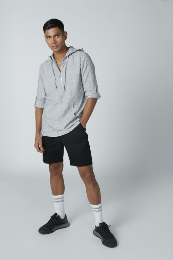 Textured Hoodie Shirt with Long Sleeves and Zip Detail
