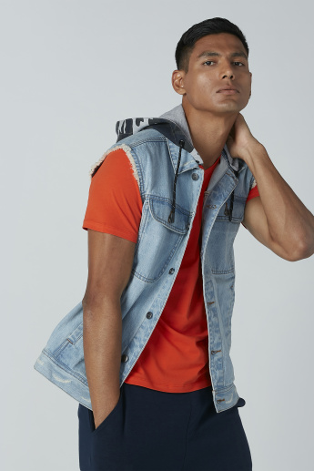 Sleeveless Denim Hooded Jacket with Complete Placket