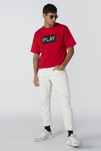 Play Printed Round Neck T-Shirt with Short Sleeves