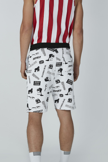 Printed Shorts with Pocket Detail and Drawstring