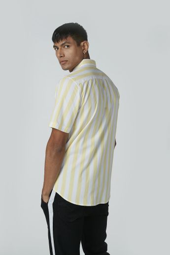 Striped Shirt with Short Sleeves and Spread Collar