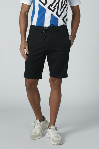 Pocket and Tape Detail Shorts with Drawstring