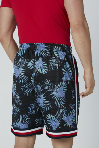 Printed Shorts with Tape and Pocket Detail