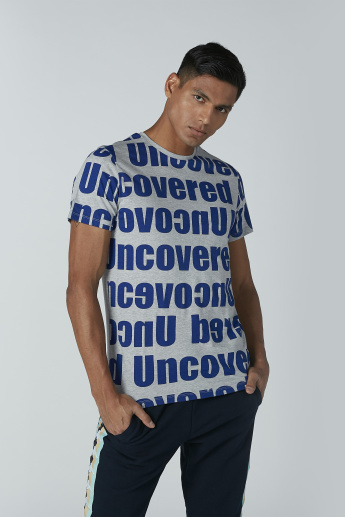 Text Printed T-Shirt with Short Sleeves and Round Neck
