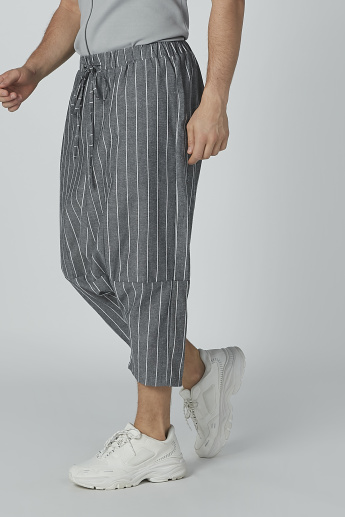 Striped Shorts with Drawstring Closure