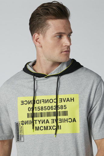 Printed Hoodie with Short Sleeves