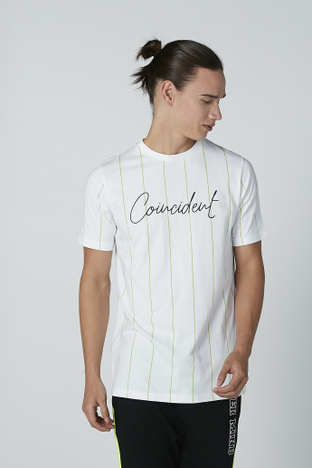 Text Printed and Striped T-shirt with Short Sleeves and Round Neck