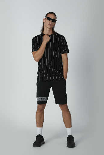 Striped T-shirt with Short Sleeves and Round Neck