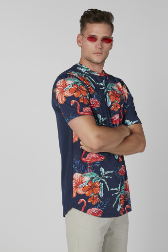 Floral Printed T-shirt with Crew Neck and Short Sleeves