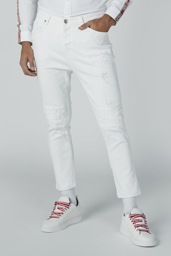Ripped Denim Jeans with 5-Pockets and Button Closure