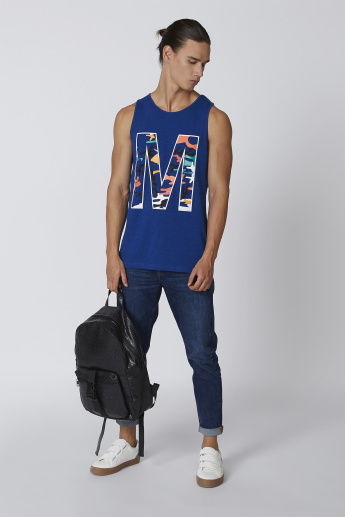 Printed Sleeveless T-shirt with Round Neck
