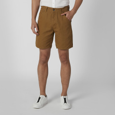 Slim Fit Plain Shorts with Pocket Detail and Belt Loops