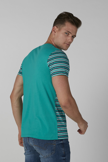 Sustainability Striped T-shirt in Slim-Fit with Crew Neck