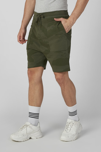 Sustainability Printed Shorts with Pocket Detail and Drawstring