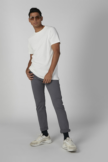 Sustainable Plain T-shirt in Slim Fit with Short Sleeves