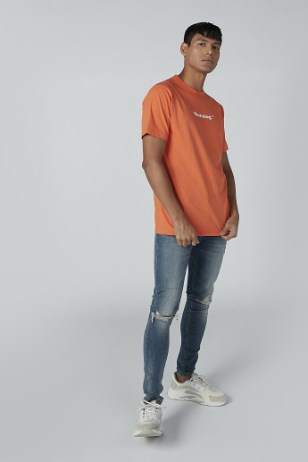 Sustainability Text Print Round Neck T-shirt with Short Sleeves
