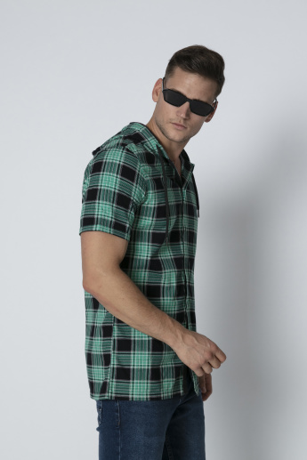 Chequered Shirt with Hood and Short Sleeves