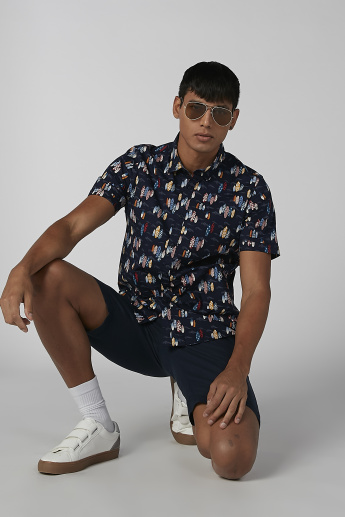 Printed Shirt with Short Sleeves and Spread Collar