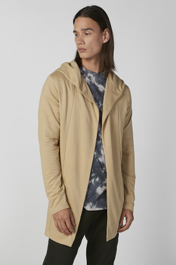 Plain Cardigan with Long Sleeves and Hood