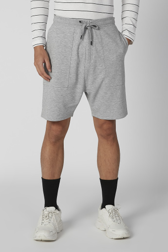 Plain Shorts with Pocket Detail and Drawstring