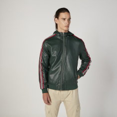 Plain Jacket with Stripe Detail Long Sleeves and Hood