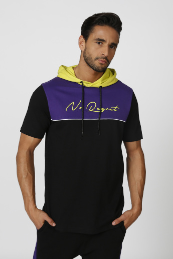 Printed Sweatshirt with Short Sleeves and Hood