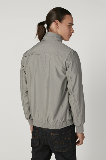 Plain Jacket with High Neck and Long Sleeves