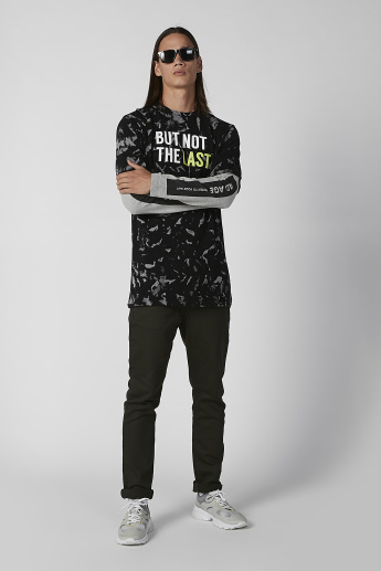 Sustainable Slim Fit Printed T-shirt with Long Sleeves