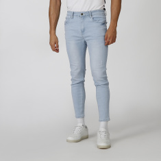 Skinny Fit Distressed Mid Waist Jeans with Pocket Detail