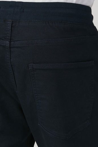 Skinny Fit Plain Low Waist Cropped Pants with Pocket Detail