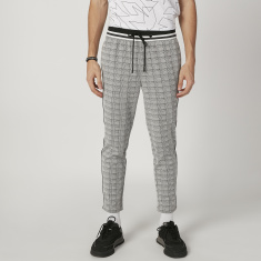 Sustainable Chequered Cropped Pants with Elasticised Waistband