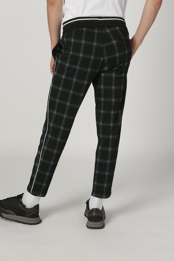 Sustainability Chequered Cropped Pants with Elasticised Waistband
