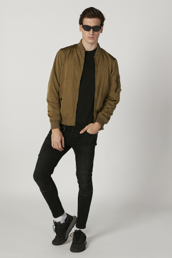 Plain Bomber Jacket with Long Sleeves and Kangaroo Pockets