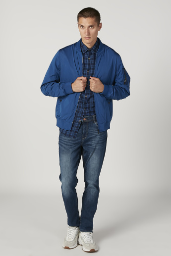 Plain Bomber Jacket with Long Sleeves and Slant Pockets