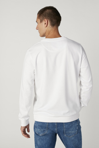 Sustainability Printed Sweatshirt with Round Neck and Long Sleeves