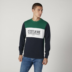 Sustainable Printed Sweatshirt with Crew Neck and Long Sleeves